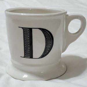 Anthropologie D Monogram Coffee Mug White Black